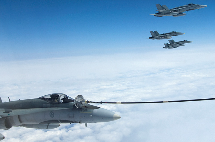 CF-18 Hornet aircraft during an Air to Air refueling exercise.